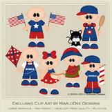 All American Kids Bald Heads Clip Art Graphics