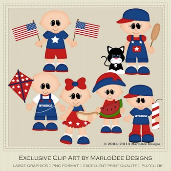 All American Kids Bald Heads Clip Art Graphics