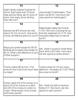 All Around Math Word Problem Games 3-4