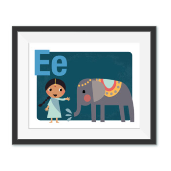 All Around The World Learn Your ALPHABET Prints  - Dark Cool