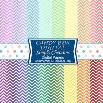 Rainbow Chevron on White Digital Background Papers