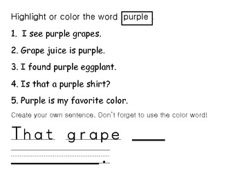 All Color Words Packet