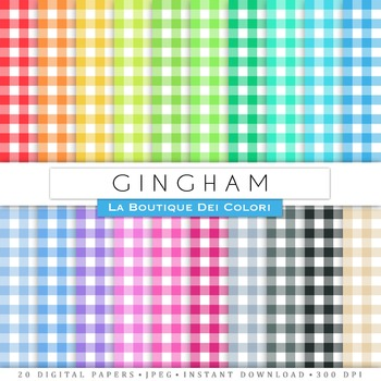 All Colours Gingham Digital Paper, scrapbook backgrounds