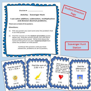 All Decimal Operations Math Stations Exit Ticket Included