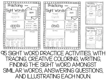 Dolch Nouns Sight Words Year-Long Activity Pack