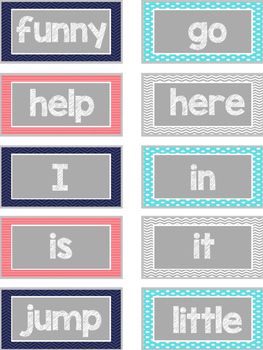 All Dolch Sight Words Flash Cards: Coordinating Pattern Set 2
