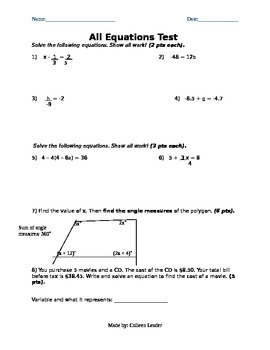 All Equations Test