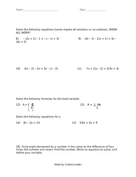 All Equations Test Practice
