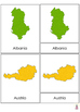 All European countries maps Montessori 3-part cards