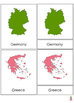 All European countries maps Montessori 3-part cards