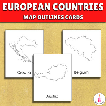 All European countries maps outlines Montessori cards