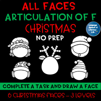 All Faces -  No Prep Christmas Articulation of  F Speech Therapy Intervention