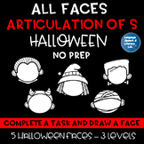 All Faces - No Prep Halloween Articulation of the S for Speech Therapy