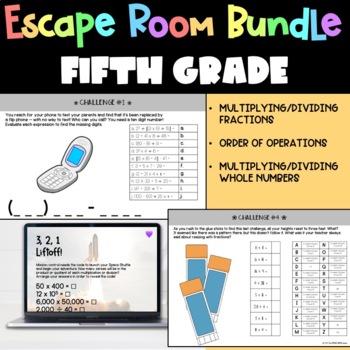 All Fifth Grade Math Escape Challenges BUNDLE