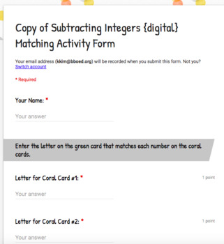 All Four Operations with Integers {digital} Matching Activity Bundle