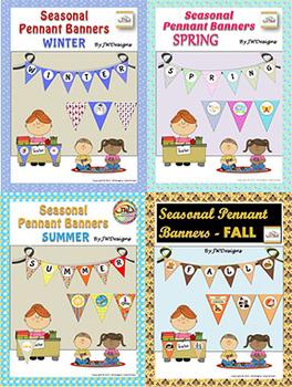 Bunting - Pennants - Banners - Seasons BUNDLE Classroom decorations