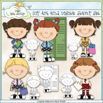 All Girls School Clip Art - Students Clip Art - Locker - CU Clip Art & B&W
