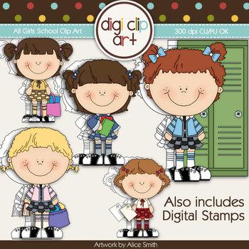 All Girls School 1-  Digi Clip Art/Digital Stamps - CU Clip Art