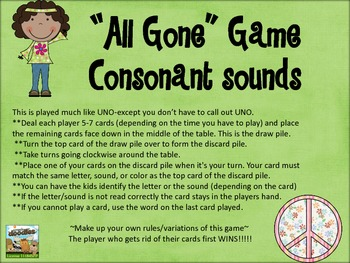 """All Gone"" Uno Game-consonant letter sounds"