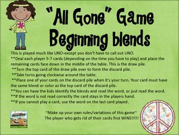 """All Gone""  Game- beginning consonant blends set"