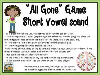 """All Gone"" Uno Game- short vowel sound set"
