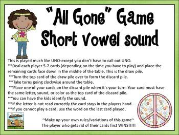 """""""All Gone""""  Game- short vowel sound set"""