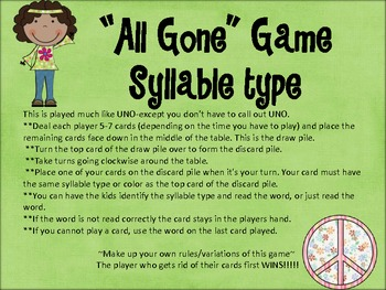 """All-Gone"" phonics game-syllable types"
