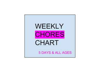 All Grades - Weekly Chores Chart