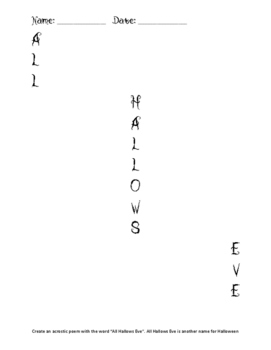 All Hallows Eve Acrostic Poem