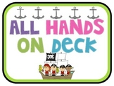 All Hands on Deck Pirate Job Chart for Back to School