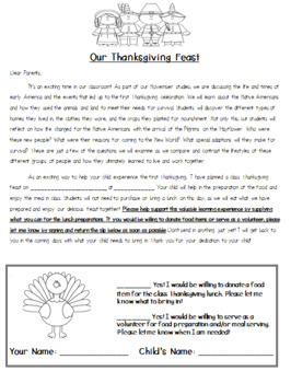 All-In-One Feast Day Fun Thanksgiving Meal Organization Pack (parent reminders)