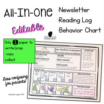 All-In-One Newsletter • Reading Log & Behavior Chart (Edit