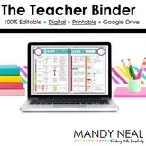 Editable Teacher Binder   Teacher Planner   Digital & Prin