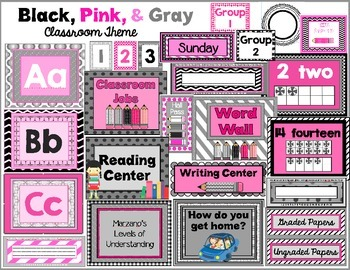Classroom Resources for Back to School (Pink, Black, & Gra