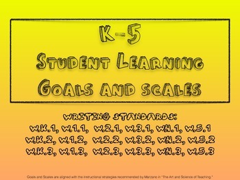 All K-5 Writing Learning Goals and Scales  - No Prep!