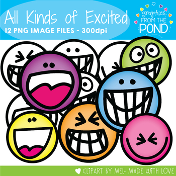 All Kinds of Excited - Face Clipart for Teaching Resources