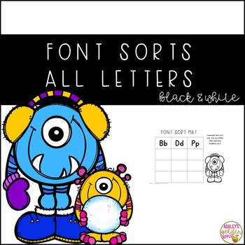 All Letter Font Sorts - Winter Themed B & W
