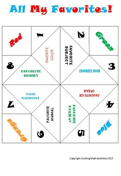All My Favorites! Cootie Catcher (Fortune Teller)