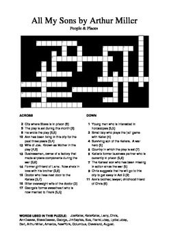 All My Sons - People and Places Crossword