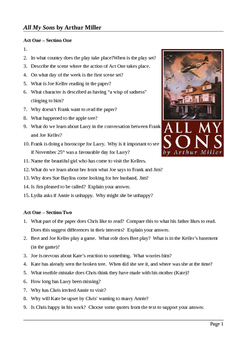 All My Sons by Arthur Miller - Close Reading Questions