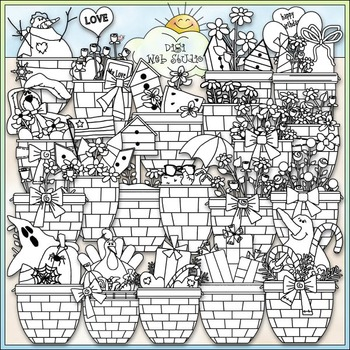 All Occasions Baskets Clip Art - CU Clip Art & B&W