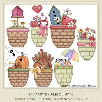 All Occasions Gift Baskets Clip Art Graphics
