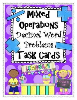 Mixed Operations Decimal Word Problem Task Cards, Worksheets and answer keys