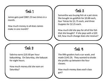mixed operations decimal word problem task cards worksheets and answer keys. Black Bedroom Furniture Sets. Home Design Ideas