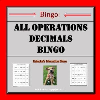 All Operations Decimals Bingo (30 pre-made cards!)