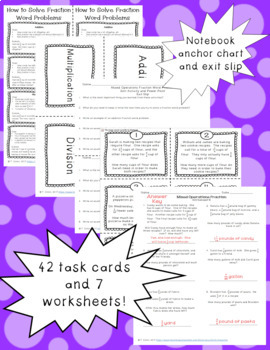 Mixed Operations Fraction Word Problem Power Point, Task Cards, Worksheets