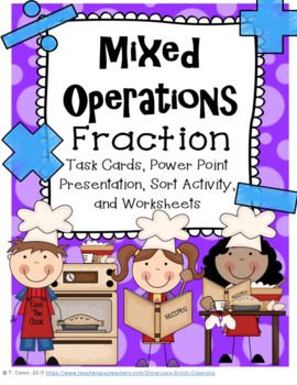 Mixed Operations Fraction Word Problem Task Cards, workshe