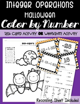 All Operations Integers HALLOWEEN Color by Number