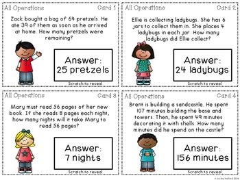 All Operations Word Problem Game {Scratch Off Cards}
