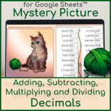 All Operations with Decimals | Distance Learning | Mystery Picture | Kitty